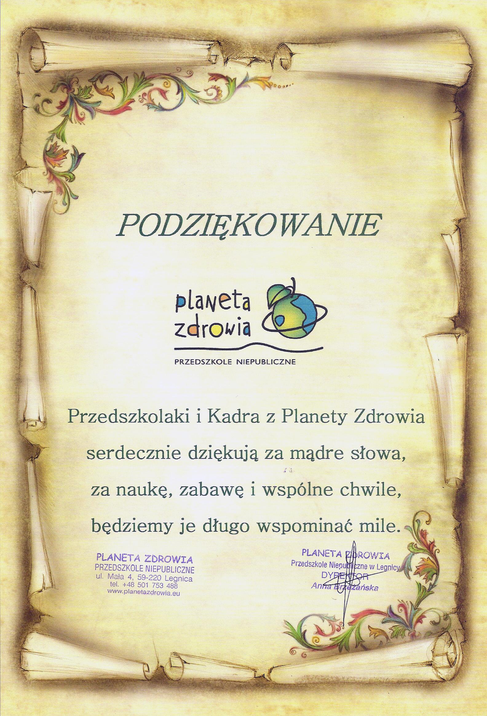Podziękowanie Przedszkole_planeta zdrowia